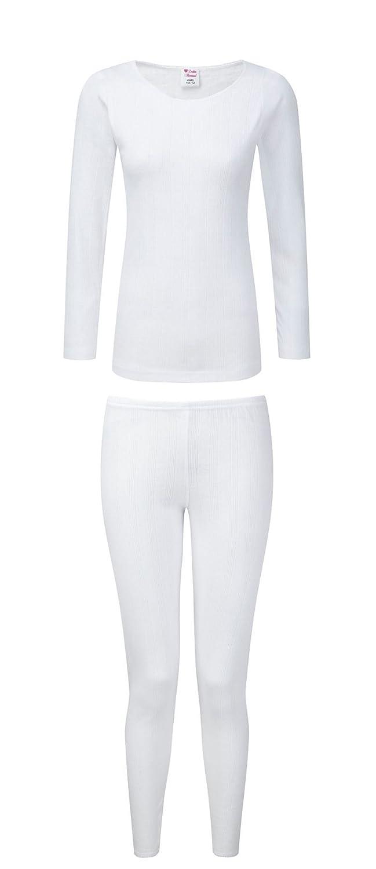 Heatwave® Ladies Thermal Long Sleeve Top & Pants Set, Baselayer Underwear Set, Black White, Size 10-24 RZK Textiles