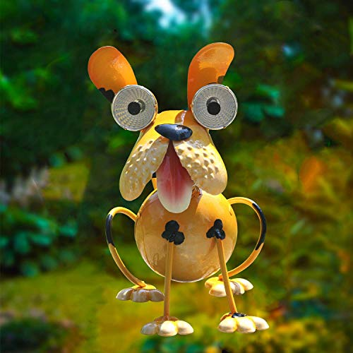 W-DIAN Solar Light LED Light Animal Outdoor,Garden,Patio,Lawn,Metal Dog Decorate,