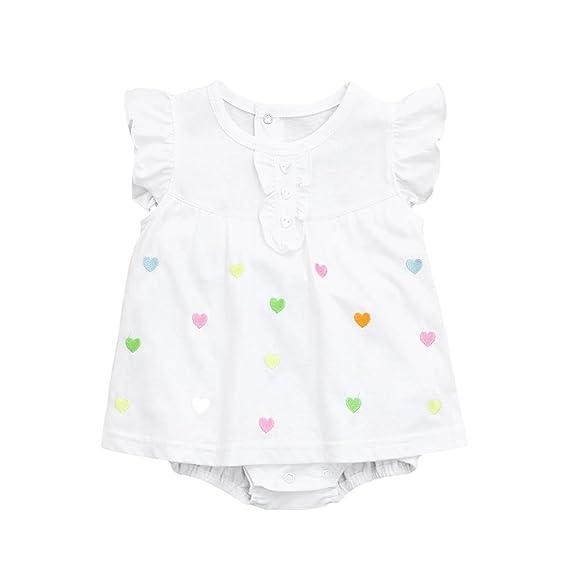 PAOLIAN Monos Ropa para bebé niñas Mameluco Vestido Verano Impresion de Florales y Amor Fiesta Peleles