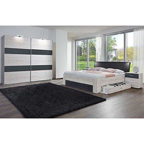 Komplett Schlafzimmer Weißeiche 180cm Bett Kleiderschrank ...
