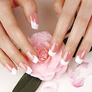 Fake nails with nail glue french tips do it yourselfore artplus 24pcs silver stripe elegant touch french manicure false nails with glue full cover long length solutioingenieria Gallery