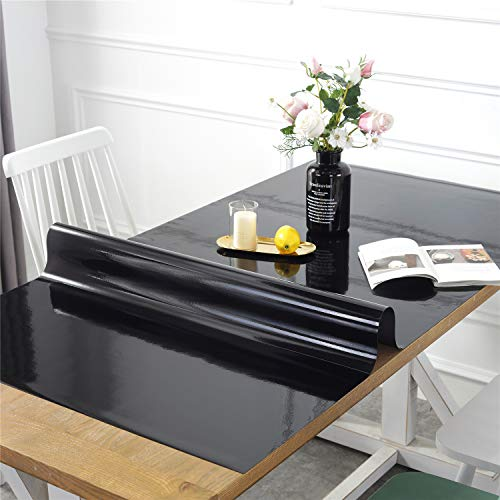 (OstepDecor Custom Black Table Protector for Dining Room Table - 60 x 36 Inch Rectangular Plastic Protective Table Pad Kitchen Wood Grain Vinyl Tablecloth Cover)