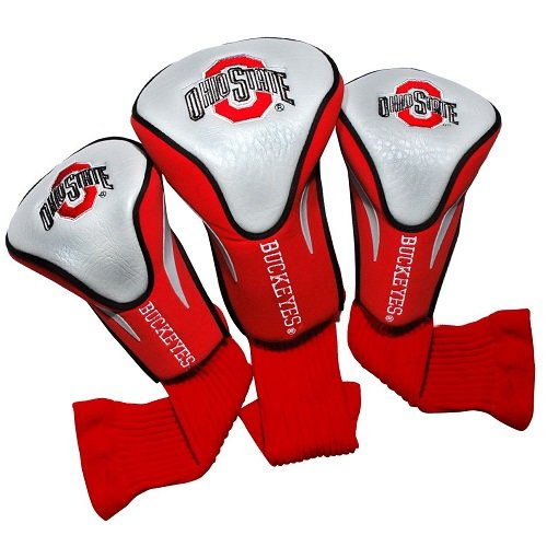 Team Golf NCAA Ohio State Buckeyes Contour Golf Club Headcovers (3 Count), Numbered 1, 3, X, Fits Oversized Drivers, Utility, Rescue & Fairway Clubs, Velour Lined for Extra Club Protection