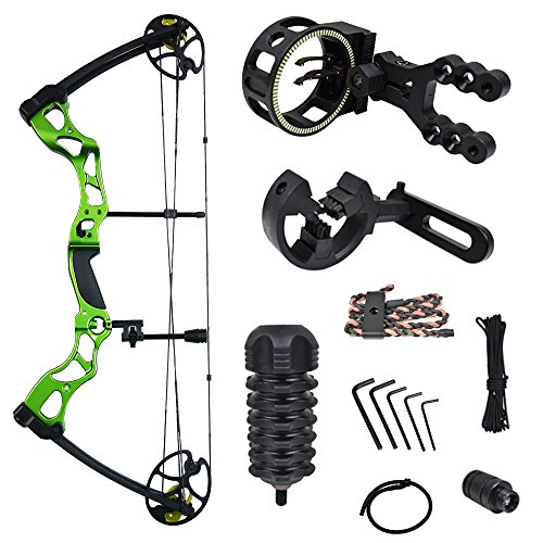 iGlow 40-70 lbs Green Archery Hunting Compound Bow with Premium Kit 175 150 60 55 30 lb Crossbow