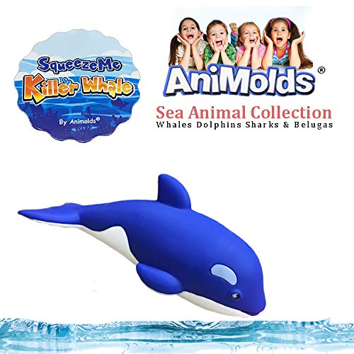 Animolds Noise Maker Toy for Kids Squeeze Me Sea Animals Great for Kids Boys and Girls Perfect Kids Bedroom Decoration or Gift Blue Color (Blue, Whale)