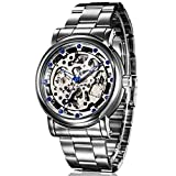 GuTe IK Luxury Mens Blue Diamond Skeleton Automatic Mechanical Wristwatch Silver Movement