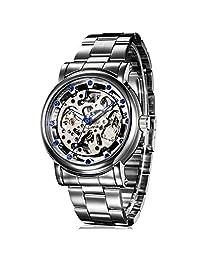 GuTe IK Luxury Mens Blue Diamond Skeleton Automatic Mechanical Wristwatch Silver Movement