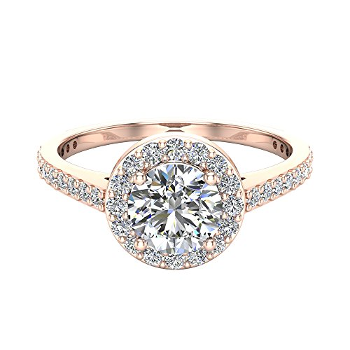 Brilliant Round Cut Diamond - Round Brilliant Cut Diamond Dainty Halo Engagement Ring 1.15 carat total 14K Rose Gold (Ring Size 7)