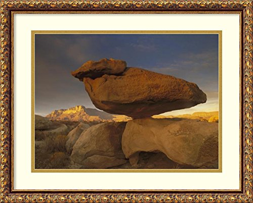 Framed Art Print 'El Capitan and Balanced Rock, Guadalupe Mountains National Park, Texas dawn