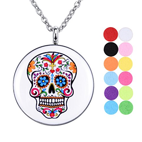 Essential Oil Diffuser Necklace Aromatherapy Locket Skull Head Pendant with 12 Refill Pads (Skull Locket)