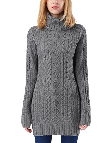 Rocorose Women's Turtleneck Sweater Jumper Cable Knitted Long Sleeves Gray S