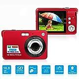 LLION HD Mini Digital Camera with 2.7 Inch TFT LCD Display, Digital Video Camera Red- Sports,Travel,Camping,Birthday&Christmas Gift (Red)