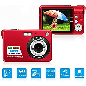 HD Mini Digital Camera with 2.7 Inch TFT LCD Display, Digital Video Camera Red- Sports,Travel,Camping,Birthday&Christmas Gift (Red)