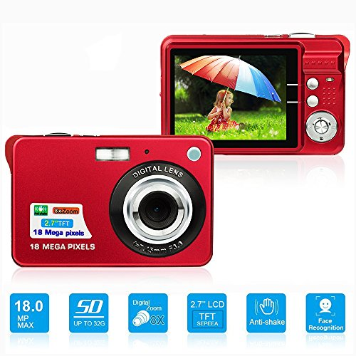 LLION HD Mini Digital Camera with 2.7 Inch TFT LCD Display, Digital Video Camera Red- Sports,Travel,Camping,Birthday&Christmas Gift (Red)
