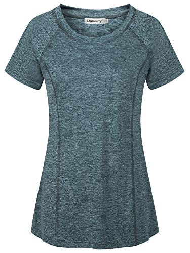 Ouncuty Workout Clothes for Women,Women's Modest Outdoor Recreation Shirts Hiking Clothing Grey Boat Neck Moisture Wicking Breathable Lightweight Smooth Soft Knit Pullover Athleisure Wear Tops Blue L]()