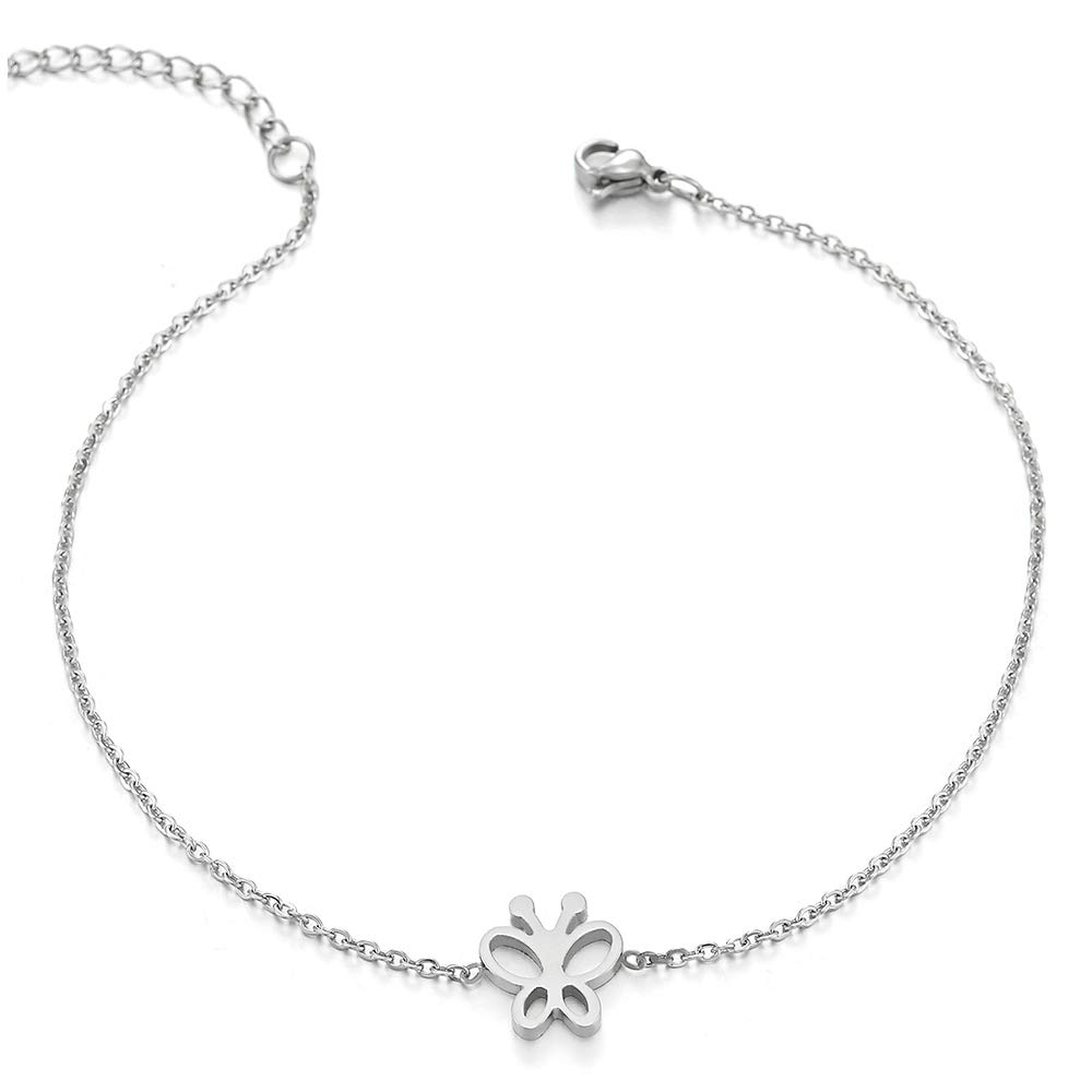 COOLSTEELANDBEYOND Womens Girls Stainless Steel Link Chain Anklet Bracelet with Butterfly Charms, Adjustable FA-215-EU