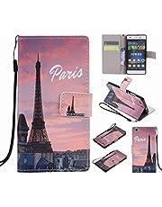 Ougger Funda para Huawei P8 Lite/ALE-L21 Carcasa, Billetera PU Cuero Magnética Stand Silicona Flip Piel Bumper Protector Tapa Cover Case con Ranura para Tarjetas, Torre Eiffel
