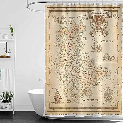 teal shower curtains for bathroom under 20 Ocean Island Decor,Old Ancient Antique Treasure Map with Details Retro Color Adventure Sailing Pirate Print,Cream,W65