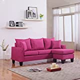 Modern Linen Fabric Small Space Sectional Sofa With Reversible Chaise (Rose  Red) Part 98