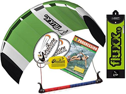 HQ Fluxx 1.8M Trainer Kite TR plus Kitesurfing DVD Bundle (4 items) Includes Progresion Beginner Kiteboarding Instructional DVD + WindBone Kite Lifestyle Decals + WindBone Key Chain : Foil Traction by HQ Power Kites, FatSand, WindBone
