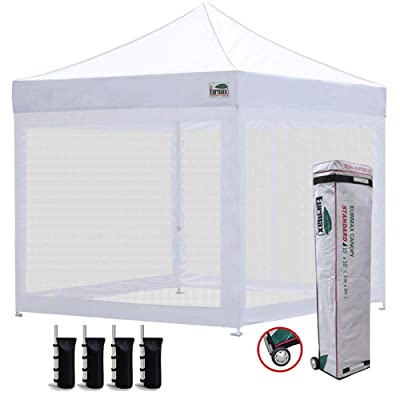 Eurmax 10x10 Ez Pop up Canopy Screen Houses Shelter Commercial Tent with Mesh Walls and Roller Bag, Bouns 4 Sandbags Weight(Bright White) : Outdoor Canopies : Garden & Outdoor