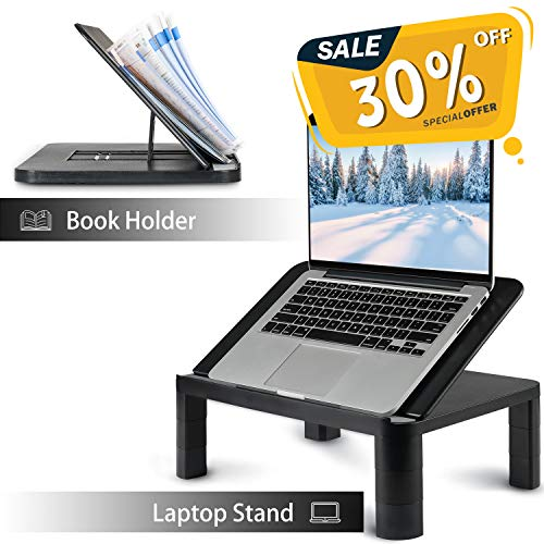 Laptop Stand Riser with Height Adjustable – FEZIBO Laptop Holder Vented, Ergonomics Design Laptop Holder Organizer for Notebooks, Book Holder, Monitor Stand