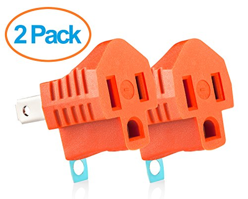 Adapter Plug - Grounded Outlet Adapter - 2 Prong to 3 Prong Adapter - 2 Pack - Orange (3 Grounded Outlets)
