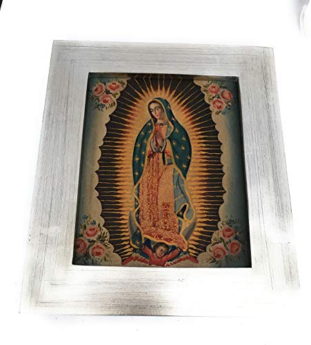 (Mareta Virgen de Guadalupe Painting in Patinated Silver Leaf Wooden Frame )