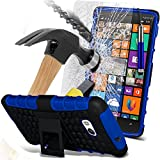 ( Blue ) Nokia Lumia 930 Case Case Tough Survivor Hard Rugged Shock Proof Heavy Duty Case W/ Back Stand, Tempered Glass Crystal Clear LCD Screen Protectors & Mini Retractable Stylus Pen by ONX3®