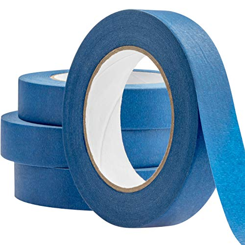 No-Residue 1 Inch, 60 Yard Blue Painters Tape 4 Pk. Easy-Tear, Pro-Grade Removable Masking Tape Great for Home, Office or Commercial Contractor. Clean, Drip-Free Painting with Wide Crepe Paper Rolls