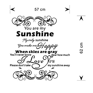 ZYN You Are My Sunshine Wall Decal, Free Combination and Removable LOVE Wall Stickers for Valentine's Day