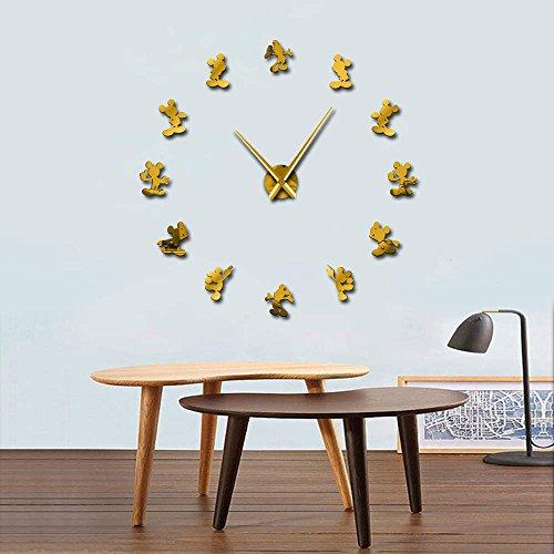 GUDOJK Mickey Design DIY Wall Clock Kid Room Decor Frameless Large Wall Watch 3D Mirror Effect Comics Wall Sticker ()