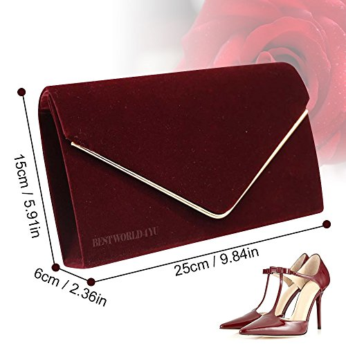 Burgundy Bag Girly Bridal Ladies Wocharm Party Clutch Bag Metallic HandBags Frame Prom Wedding Evening Suede Faux Clutch Envelope aqqPrT6dWn