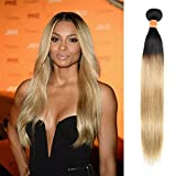 July Queen Malaysian Hair Ombre Blonde Hair Extensions Black to Blonde Straight Weave Two Tone 1B/27 18inch