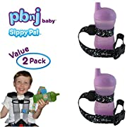 PBnJ Baby SippyPal Sippy Cup Holder Strap Leash Tether (Black Paisley 2-Pack)