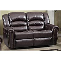 Meridian Furniture Nailhead Reclining Loveseat, Brown