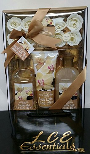 Price comparison product image Christmas Gifts for Her: 13 Pc Bath Gift Set: 10 Rose Soap Petals , Body Lotion , Bubble Bath, and Shower Gel (Warm Golden Vanilla Sugar Scented)