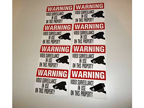 8 RED COLORED VIDEO SURVEILLANCE STICKERS - 3x4
