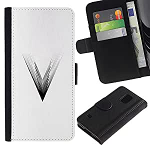 KingStore / Leather Etui en cuir / Samsung Galaxy S5 V SM-G900 / V Película Triángulo Negro Blanco;