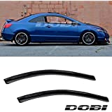 Audrfi 2pc Fit 06-11 Civic 2-Door Coupe JDM Sun/Rain Guard Vent Shade Window Visor