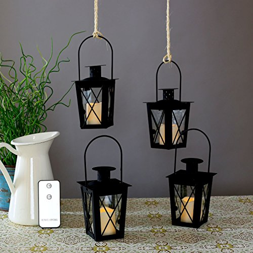 4 Black Mini Flameless Lanterns with 4 Ivory Resin Votive Candles, Warm White LEDs, Matte Finish, Indoor/Outdoor Use, Batteries & Remote (Small Lanterns)