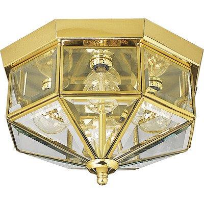 Hexagonal Beveled Glass Outdoor Flush Mount