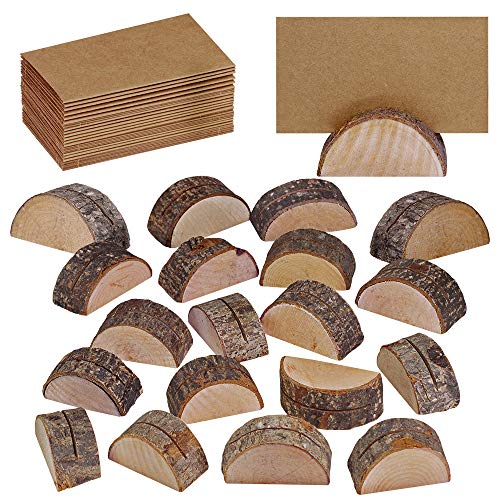 Supla 20 Pcs Rustic Wood Wedding Place Card Holders with 30 Pcs Kraft Tented Cards Half-Round Table Numbers Holder Stand Wooden Memo Holder Card Photo Picture Note Clip Holders Escort Card Holder (Cards Round Number Table)