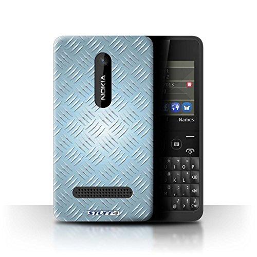 Coque de Stuff4 / Coque pour Nokia Asha 210 / Bleu Design / Motif en Métal en Relief Collection