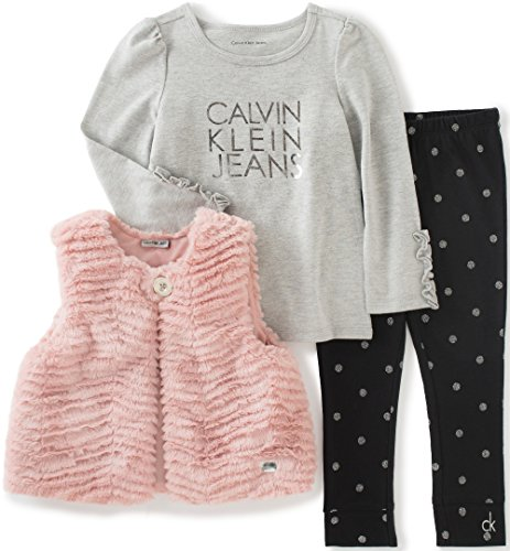 Calvin Klein Baby 3 Piece Faux Fur Vest Set, Pink, 6/9 Months