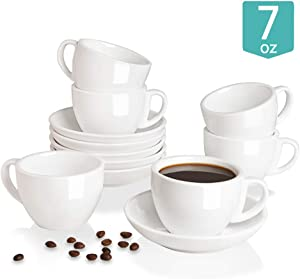 Sweejar Ceramic Cappuccino Cups and Saucers Set, 7 Ounce Espresso Cups for Coffee Drink, Latte, Café Mocha and Tea - Set of 6(White)