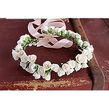 Boho Rose Crown, Flower Girl Wreath, Wedding Headband