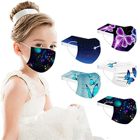 【USA in Stock 】 50PCS Children Disposable Face_MASK Butterfly Pattern Face Covering Face Protection for Kids Outdoor, Boys Girls Fashion Breathable Industrial Ear Loop Face Fabric for Cycling Camp