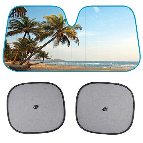 BDK AS601 Beach Standard Palm Tree Windshield Sun Shade for Car SUV Truck with Side Window Sunshades-(58 x 28 inch)