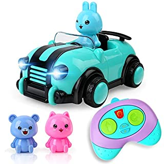 BeebeeRun Cartoon Remote Control Car,2CH Race Car Toys with Music,Lights and Animal Driver Figures Gift for Kids Boys Girls Age 18M+